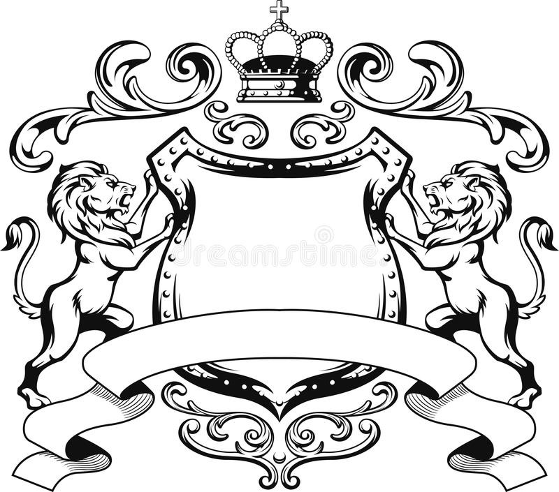 Heraldiska Lion Shield Crest Silhouette vektor illustrationer
