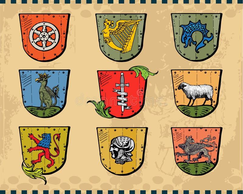heraldiska sköldar vektor illustrationer