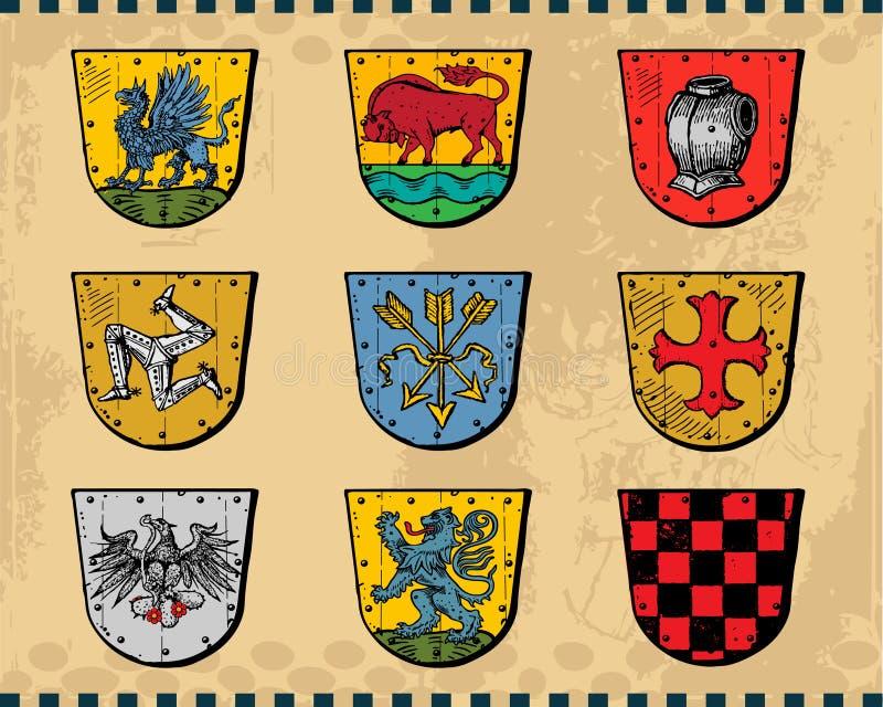 heraldiska sköldar stock illustrationer