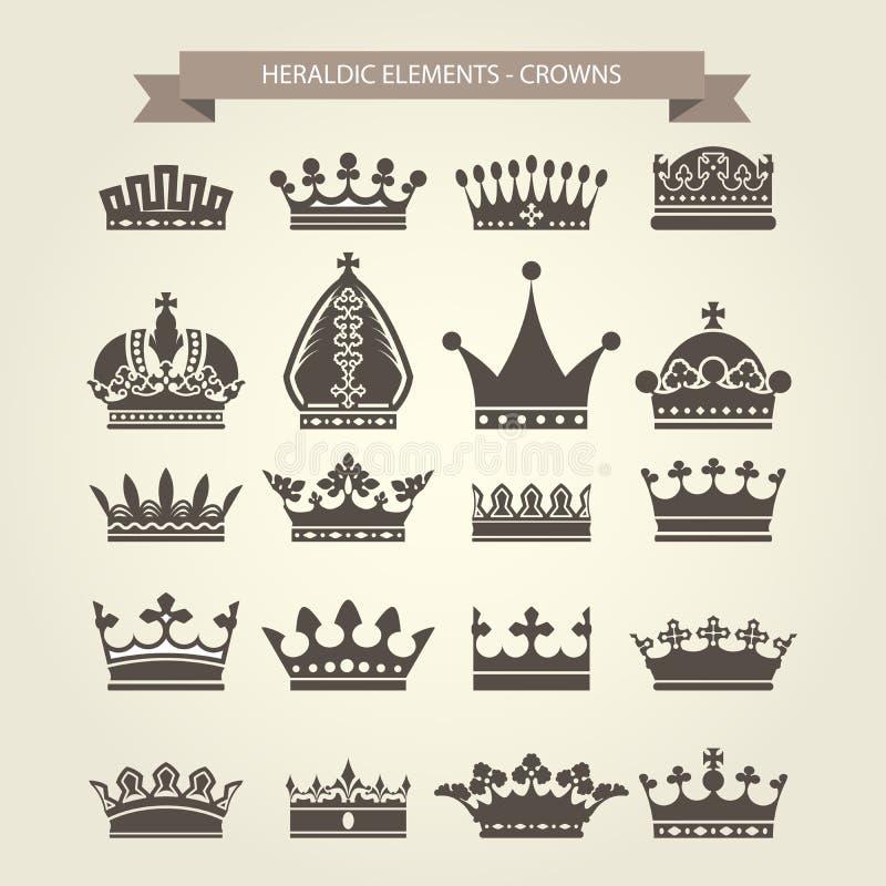 Heraldiska symboler - kunglig personkronauppsättning royaltyfri illustrationer