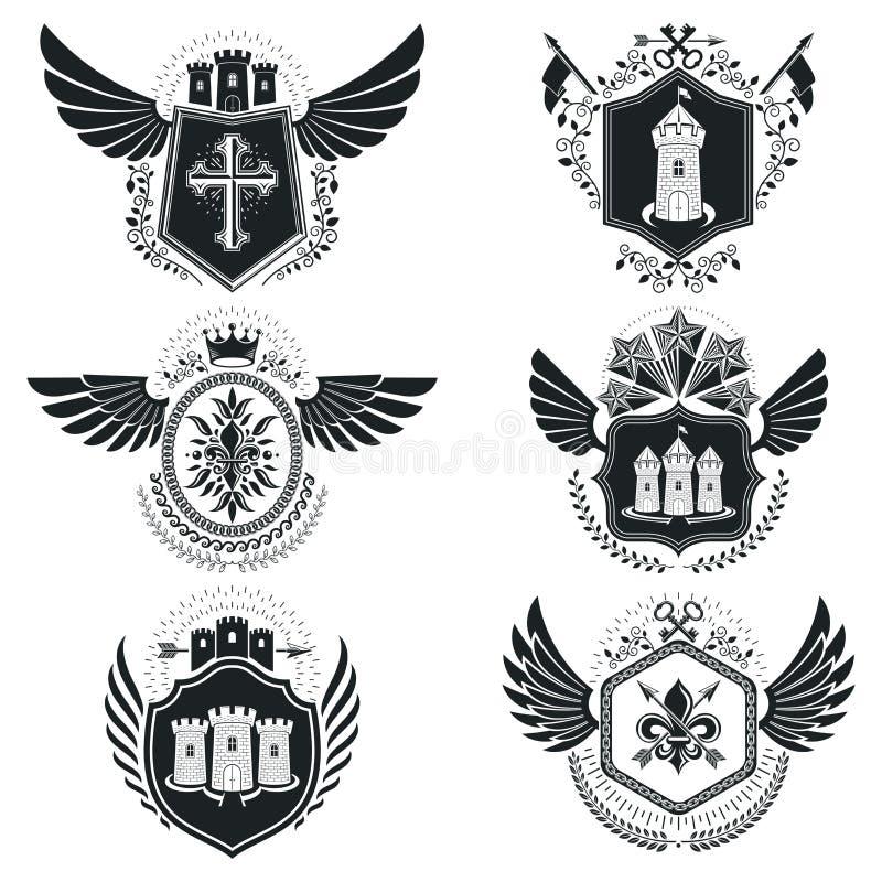 Heraldiska teckentappningbeståndsdelar Samling av symboler in royaltyfri illustrationer