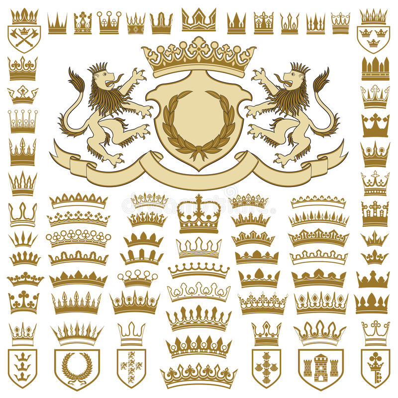 Heraldiska vapen och kronasamling royaltyfri illustrationer