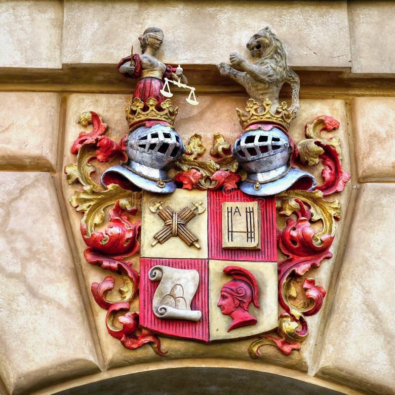 Heraldiskt emblem för slott, riddare Symbol royaltyfria foton