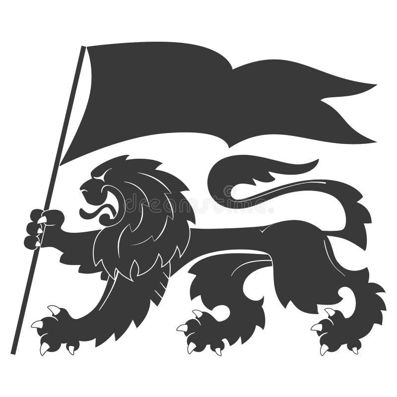 Heraldiskt lejon med flaggan royaltyfri illustrationer
