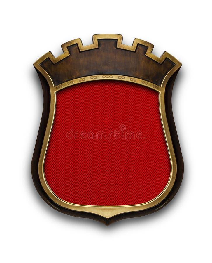 Heraldiskt skölddiplom i träramen som isoleras på vit stock illustrationer