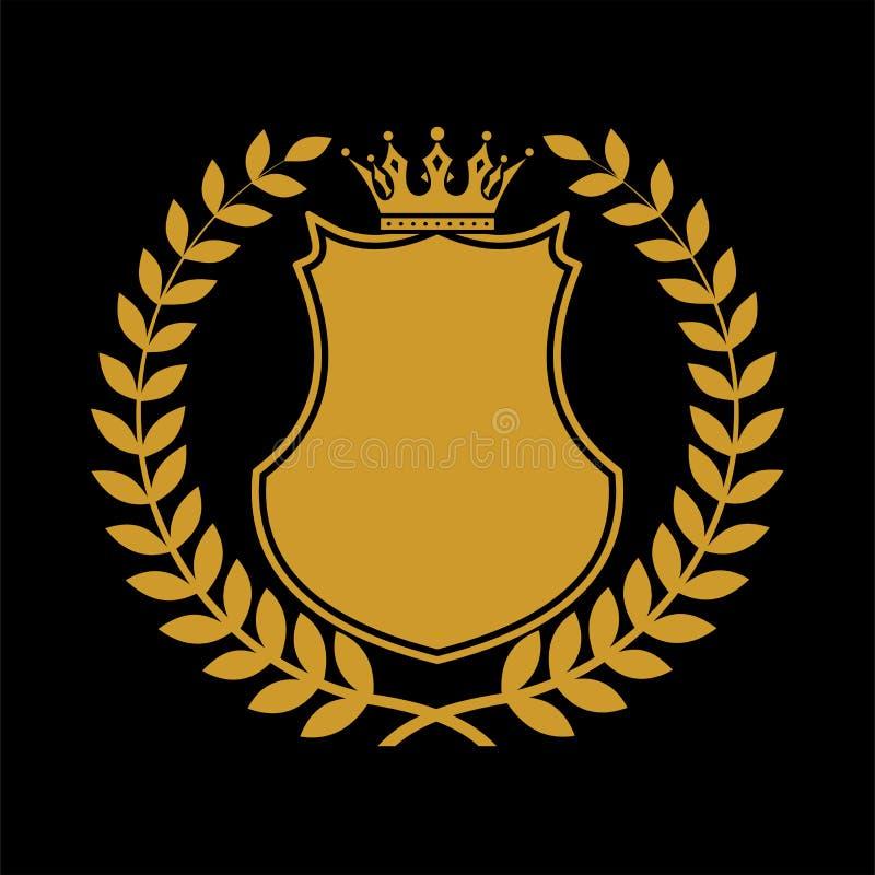Heraldiskt sköldsymbol i lagersidor stock illustrationer