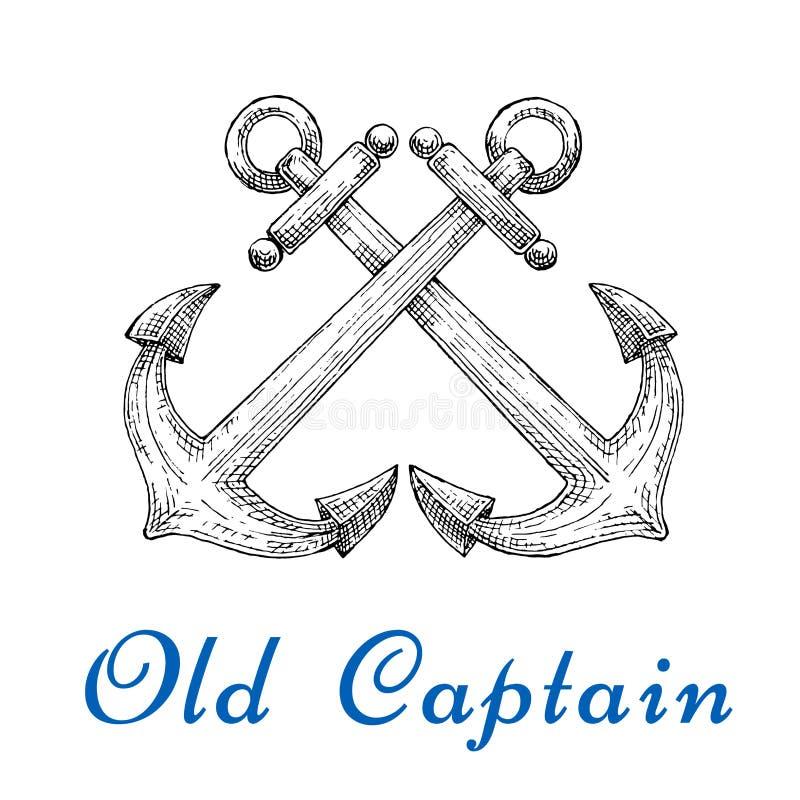 Heraldiskt skissa av korsade nautiska ankaren stock illustrationer