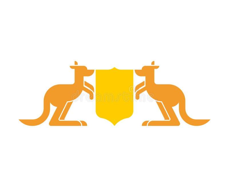 Heraldiskt symbol för känguru och för sköld Australisk kunglig medborgare E stock illustrationer