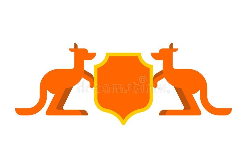 Heraldiskt symbol för känguru och för sköld Australisk kunglig medborgare E vektor illustrationer