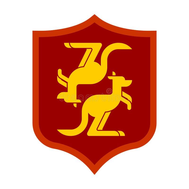 Heraldiskt symbol för kängurusköld Australien vapensköld austin royaltyfri illustrationer