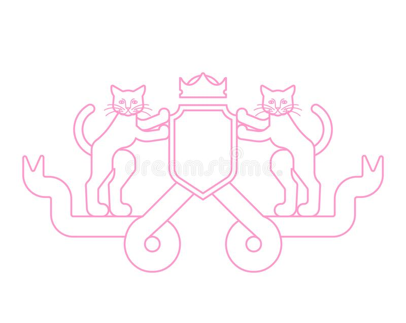 Heraldiskt symbol för katt och för sköld Husdjur för vapensköld Vektor dåligt royaltyfri illustrationer