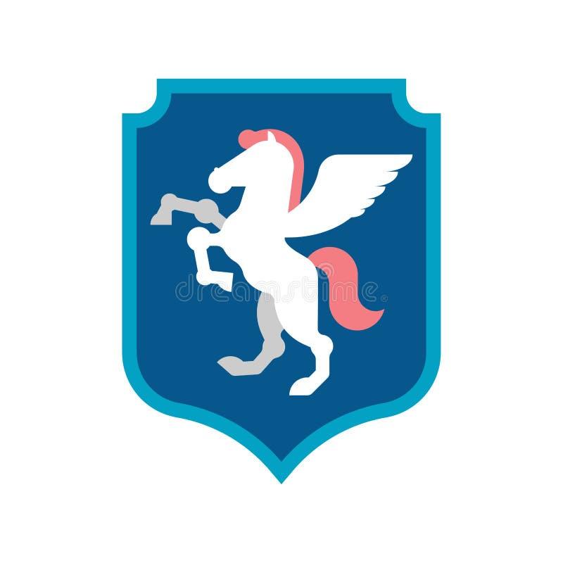 Heraldiskt symbol för Pegasus sköld Teckendjur för vapensköld ro royaltyfri illustrationer