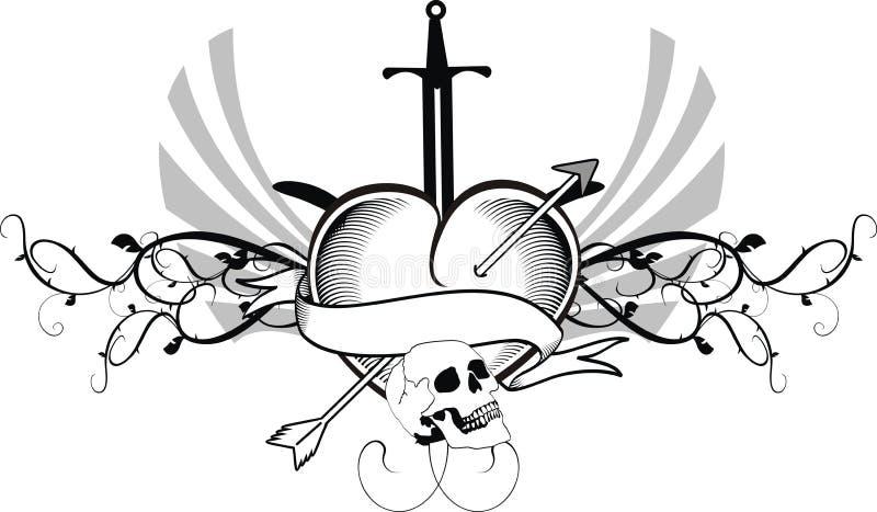 Heraldiskt vapen för vapensköld för hjärtatatueringsvärd stock illustrationer