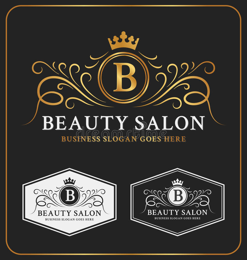 Heraldiskt vapen Logo Template för skönhetsalong royaltyfri illustrationer