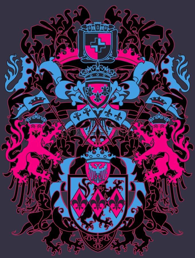 heraldry конструкции самомоднейший иллюстрация вектора