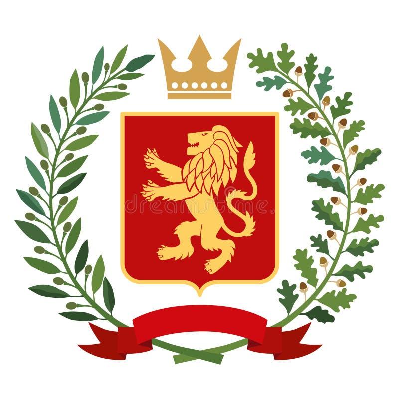 Heraldry, coat of arms. Green olive branch, oak branch, crown, shield, lion. Color stock illustration