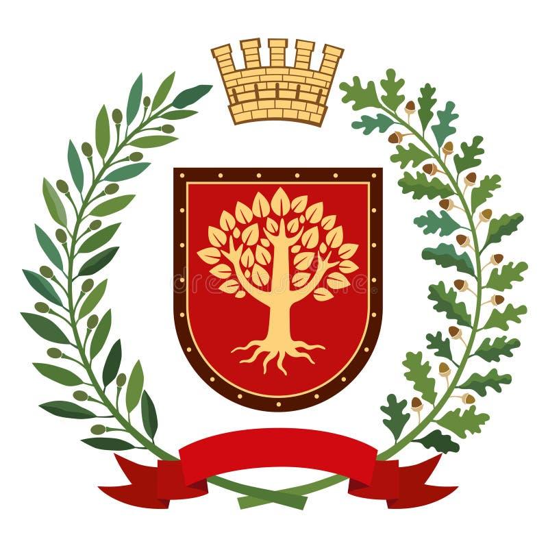 Heraldry, coat of arms. Olive branch, oak branch, crown, shield, tree. Color vector illustration