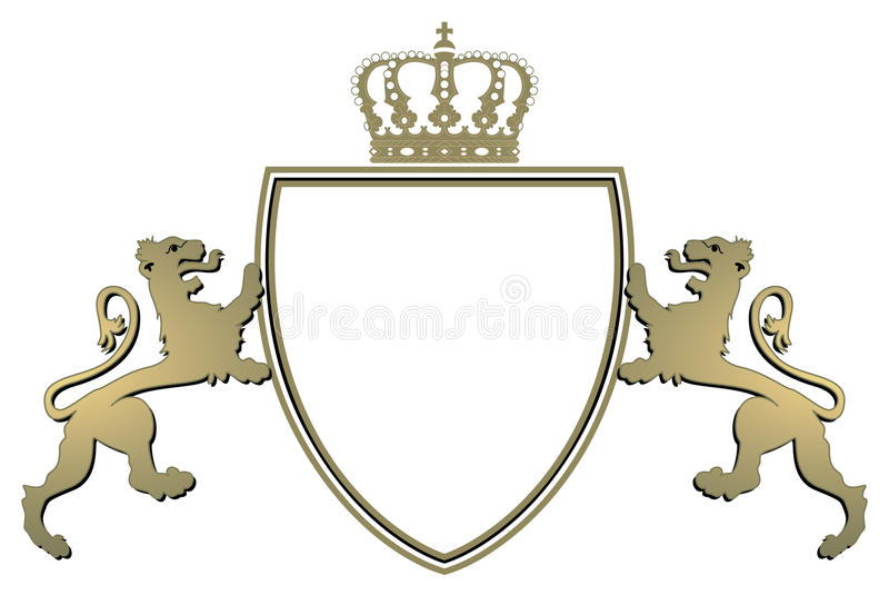Heraldry crown and lions