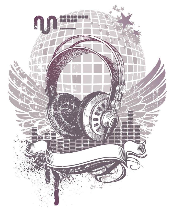 Download Heraldry with headphones stock vector. Image of sound - 9881079