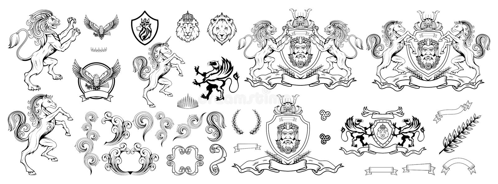 Heraldry, heraldic crest or coat of arms, heraldic elements for your design, engraving, vintage retro style, heraldry animals. Emblem, animals logo, vector vector illustration