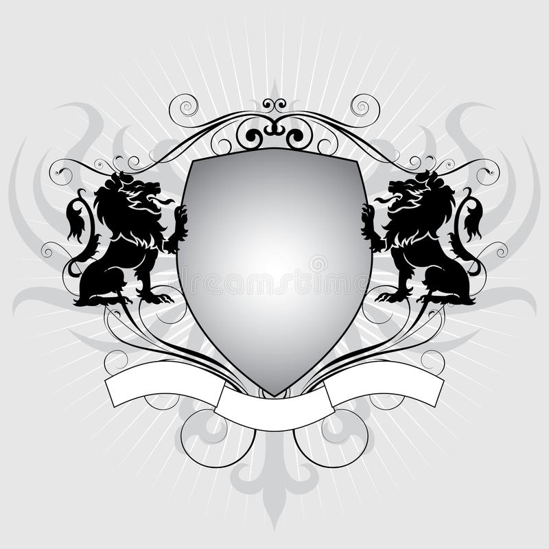 Heraldry lion shield stock illustration