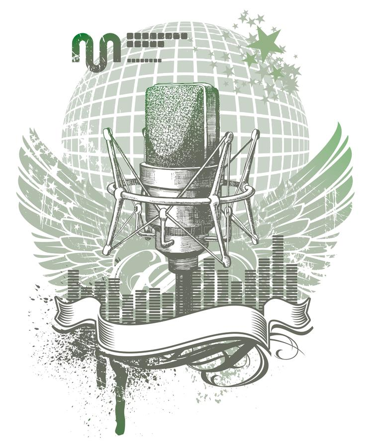 Heraldry with microphone. Vector heraldry with hand drawn microphone vector illustration