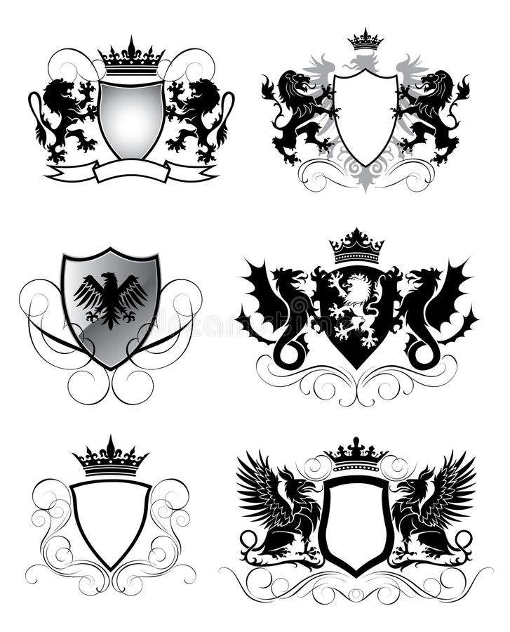 Heraldry set shield vector illustration