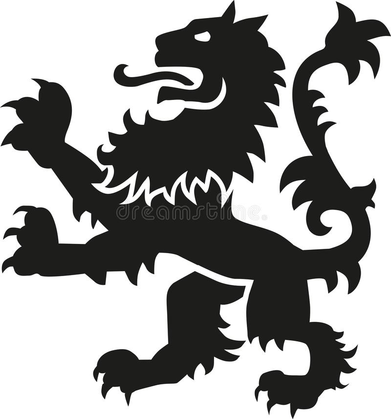 Heraldry weapon lion with details royalty free illustration