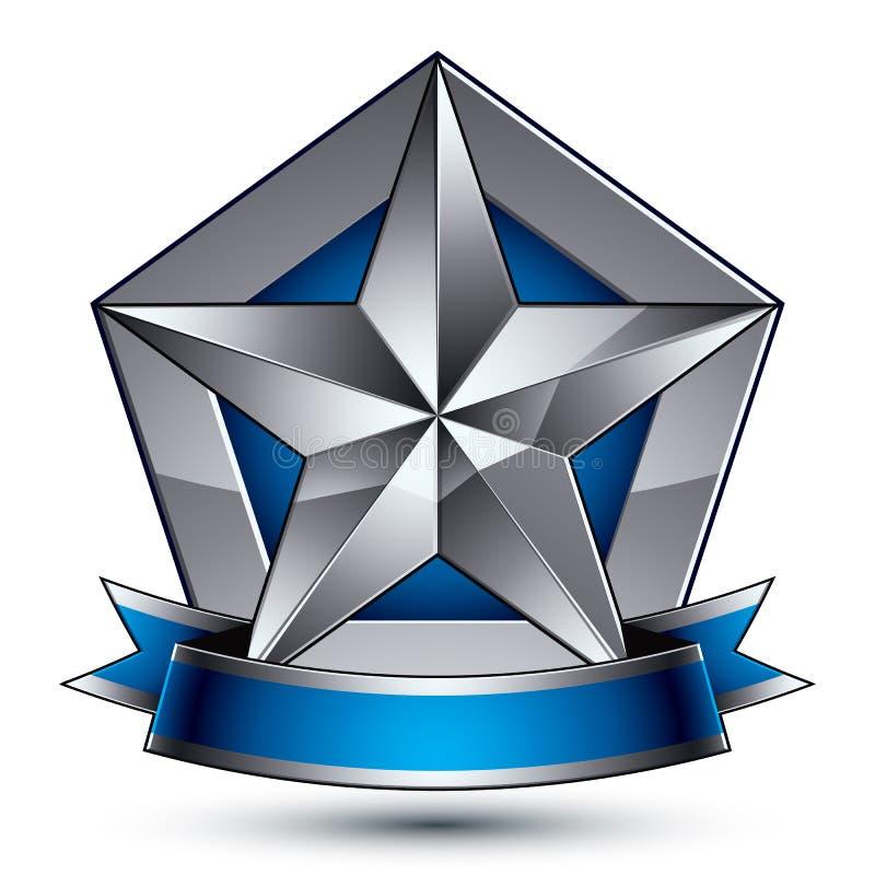 Heraldyczna błękitna i szara 3d glansowana ikona - może używać w sieci i g royalty ilustracja
