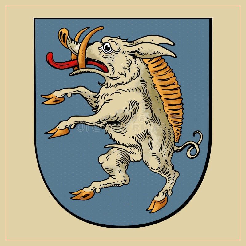 Heraldyczna bestia na osłonie ilustracji