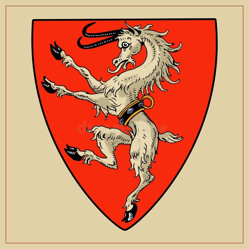 Heraldyczna bestia na osłonie ilustracja wektor