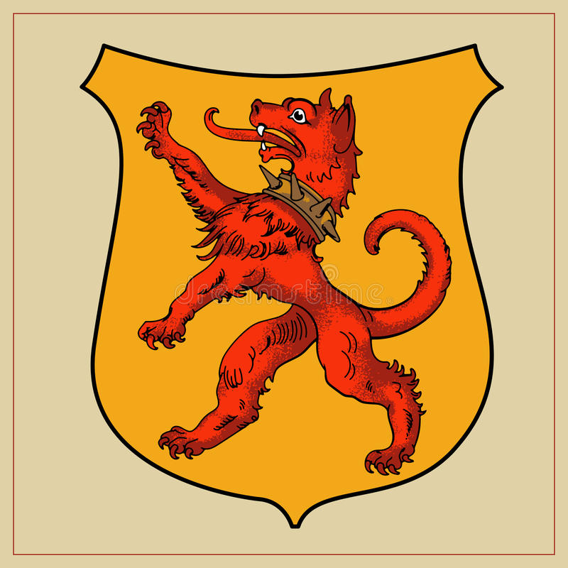 Heraldyczna bestia na osłonie royalty ilustracja