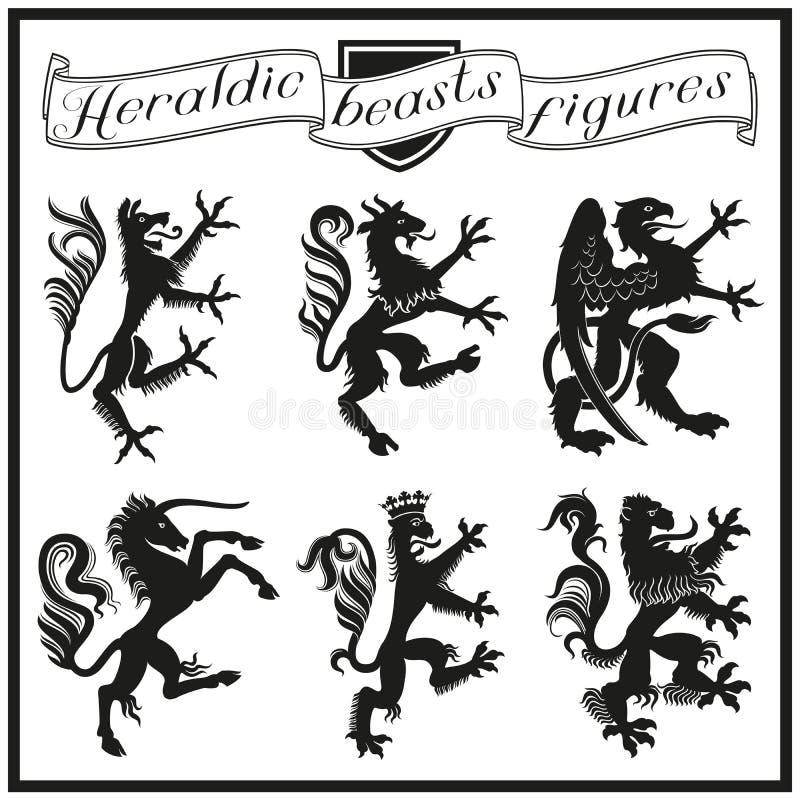 Heraldyczne bestii postacie ilustracji