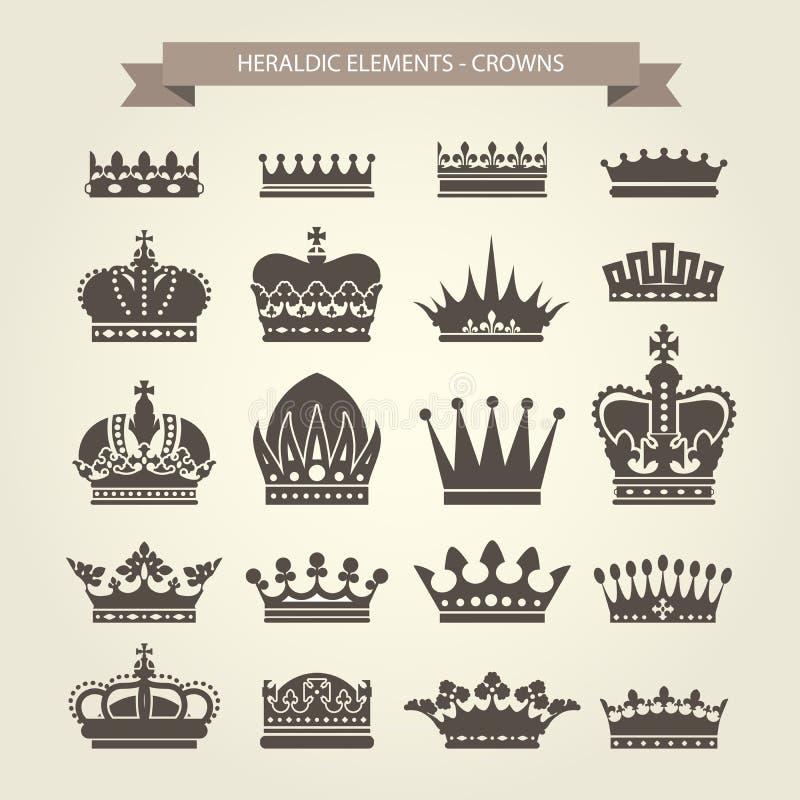 Heraldyczne korony ustawiać - monarchii coronet royalty ilustracja