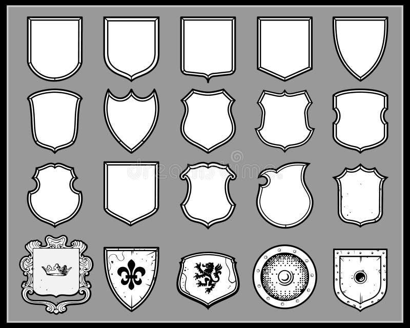 heraldyczne osłony ilustracja wektor