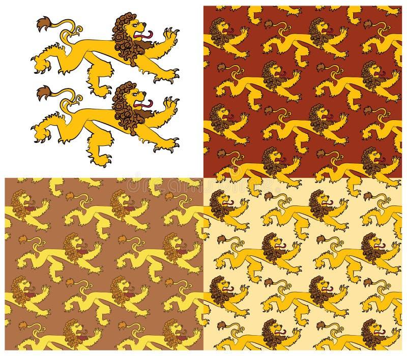 Heraldyczne postacie lew ilustracja wektor