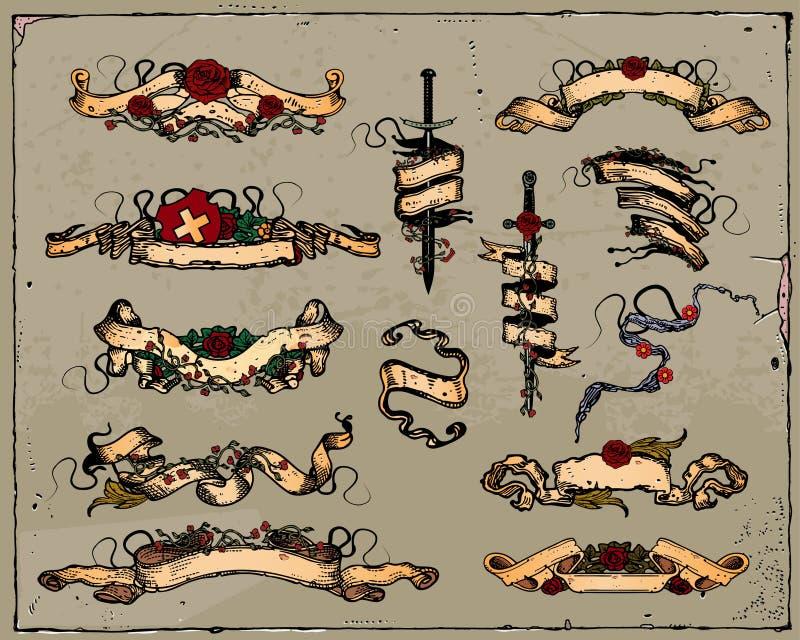 heraldyczni faborki ilustracja wektor