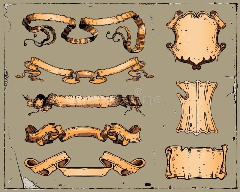 heraldyczni faborki royalty ilustracja