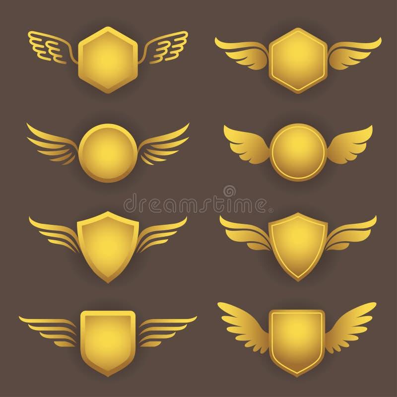 Heraldyczni kształty z skrzydłami ilustracji