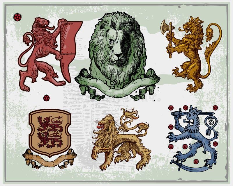 heraldyczni lwy ilustracji