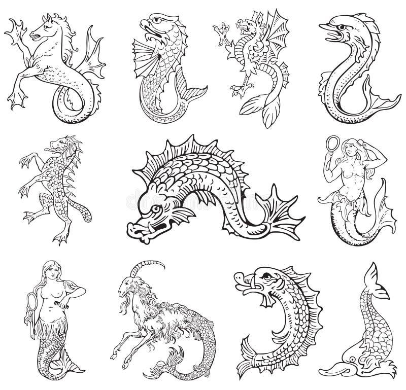 Heraldyczni potwory vol VI ilustracja wektor