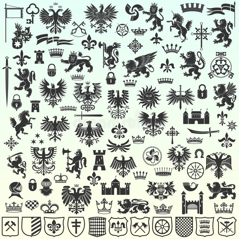 heraldyczni projektów elementy royalty ilustracja