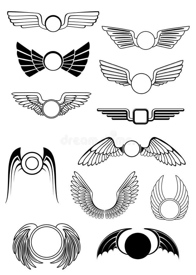 Heraldyczni skrzydła ustawiający ilustracji