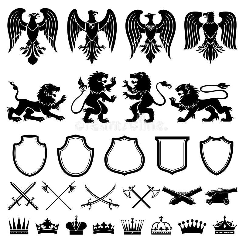 Heraldyczny elementu wektoru set royalty ilustracja