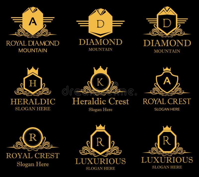 Heraldyczny Królewski grzebienia wektoru logo royalty ilustracja