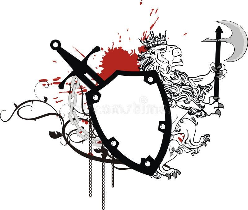 Heraldyczny lwa żakiet ręka grzebienia kordzik royalty ilustracja
