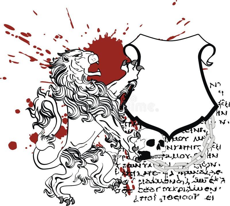 Heraldyczny lwa żakiet ręka grzebienia osłona royalty ilustracja