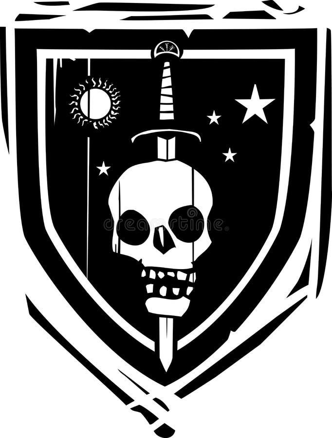 Heraldyczny osłona kordzik, czaszka i ilustracja wektor