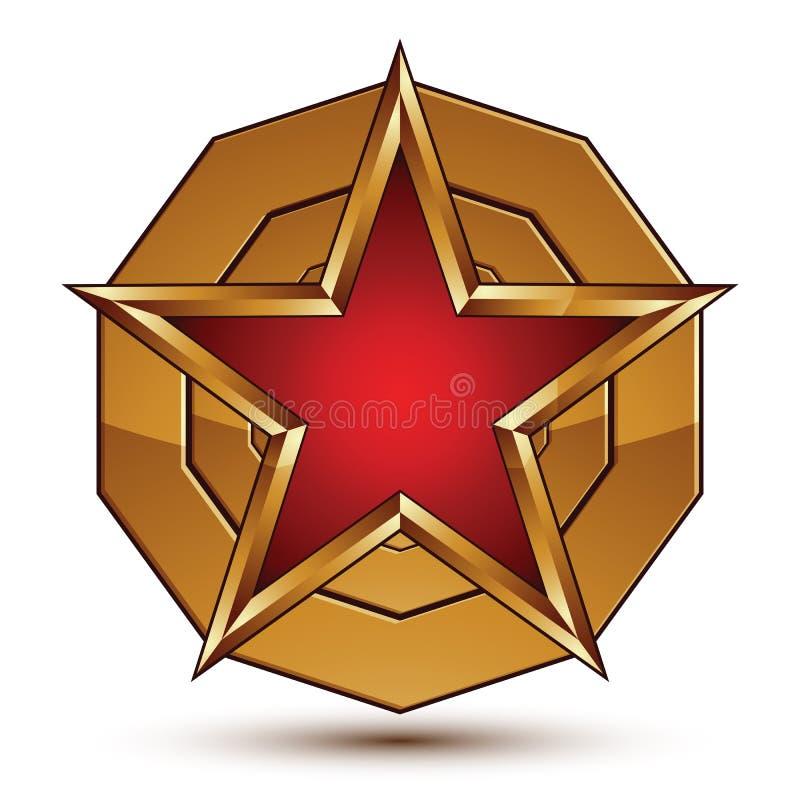 Heraldyczny wektor zaokrąglająca powierzchnia z pięcioboczną gwiazdą ilustracja wektor