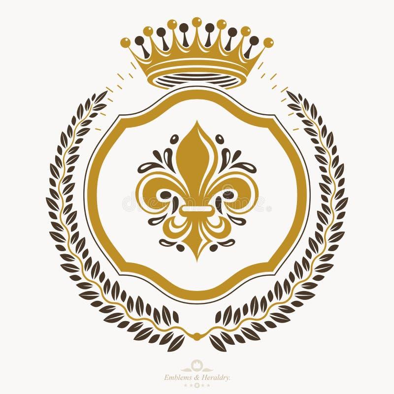 Heraldyczny znak, element, heraldyka emblemat, insygnia, znak, wektor ilustracji